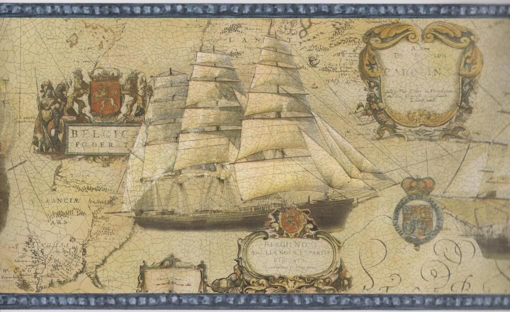 Old world map ships blue trim nautical wallpaper border norwall old world map wallpaper details about old world map ships blue trim nautical wallpaper border gumiabroncs Image collections