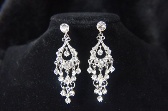 Vintage Style Diamond Bridal Earrings Crystal by SLbridaljewelry