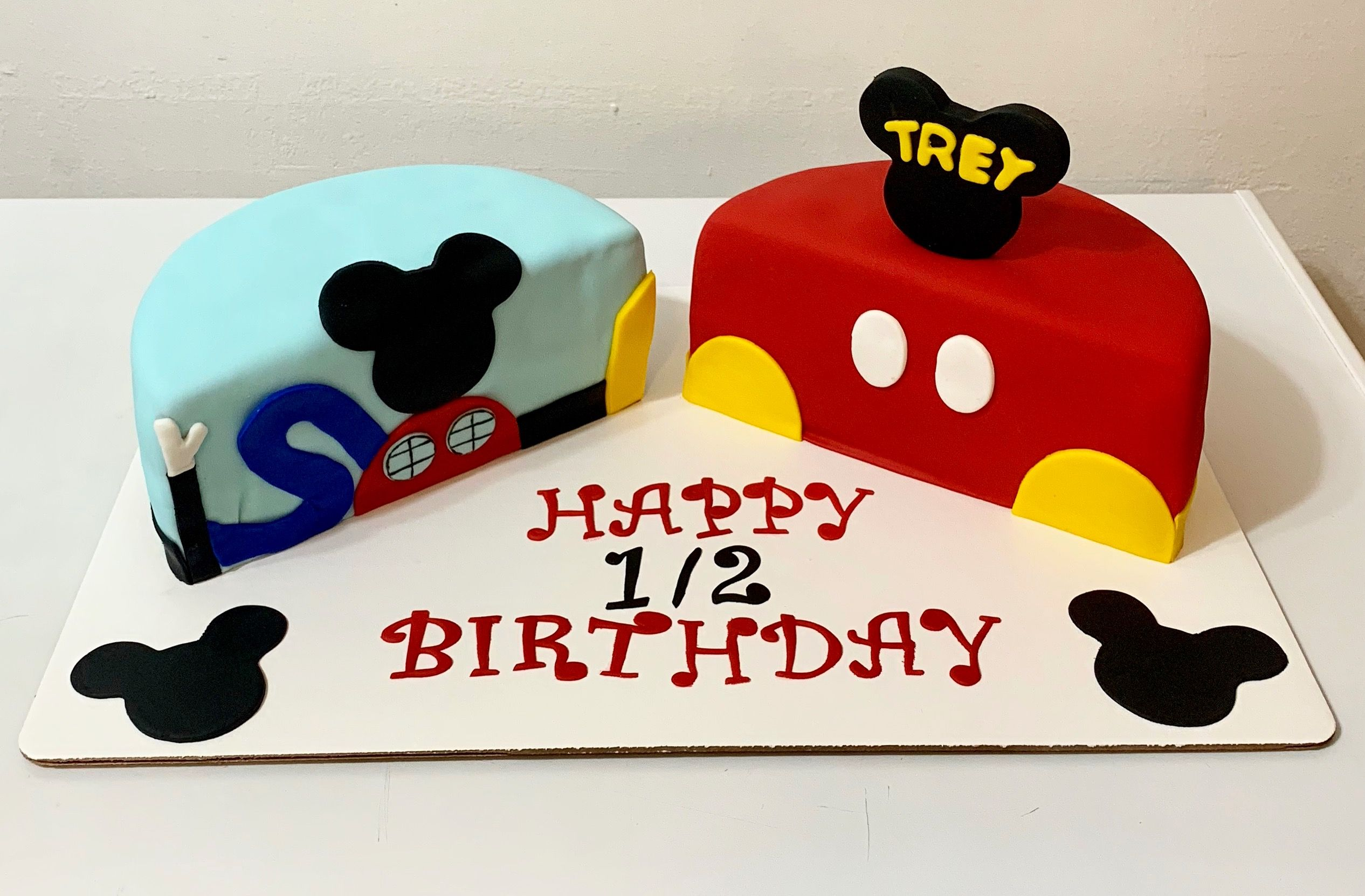 Strange Mickey Mouse Half Birthday Cake With Images Half Birthday Personalised Birthday Cards Bromeletsinfo