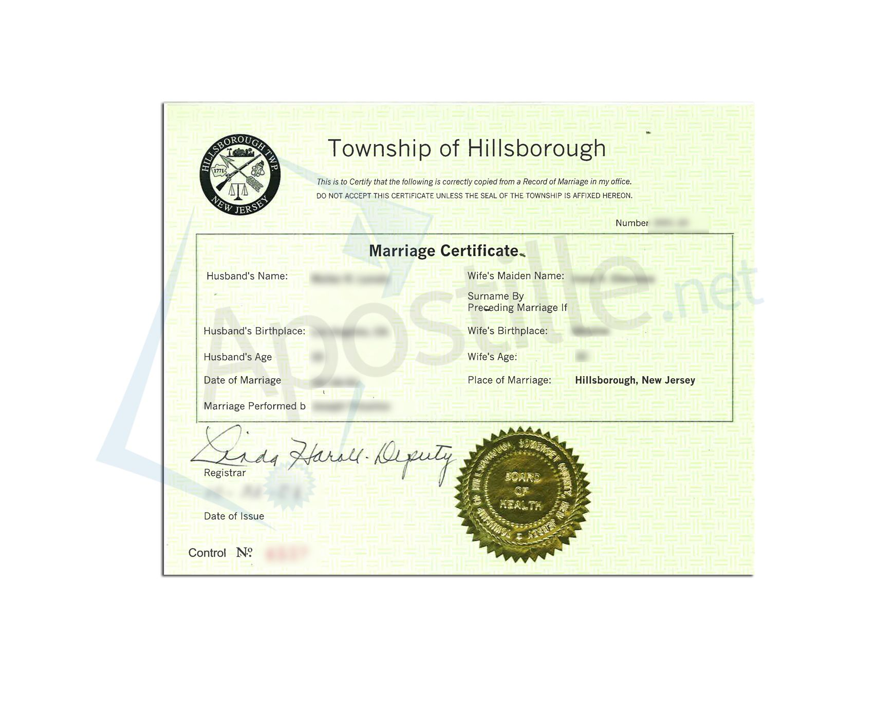 Hillsborough New Jersey Marriage Certificate Issued By The Deputy