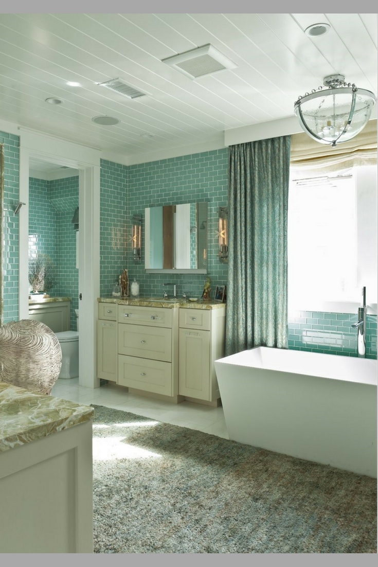 Lovely turquoise teal subway tile Bathroom
