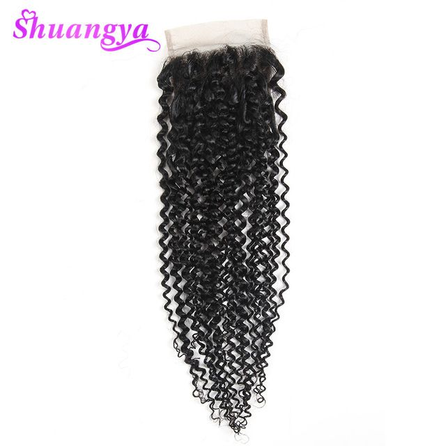 Brazilian Kinky Hair Lace Closure Shuangya Hair Natural Color New