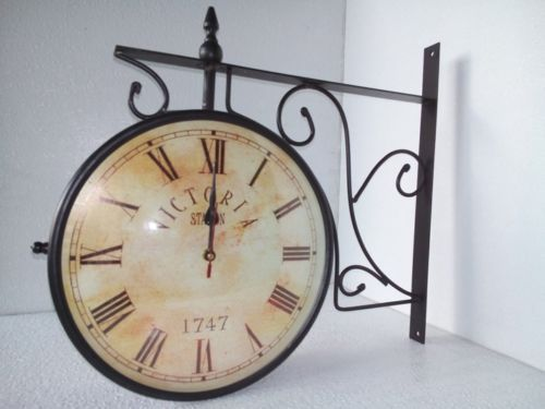 antique vintage victoria station wall hanging railway clock london double sided