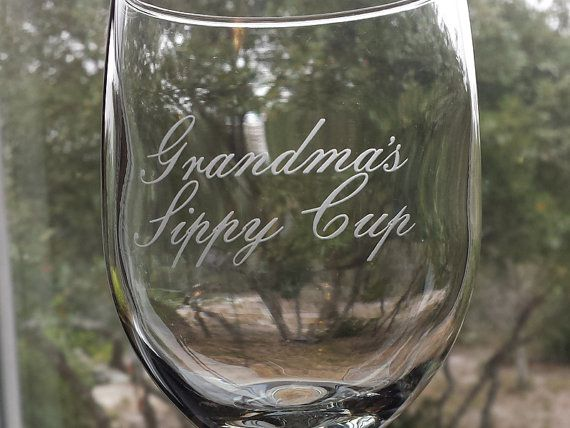 Grandma's sippy cup deep etched wine glass by RabbitRunRoad on Etsy, $19.00