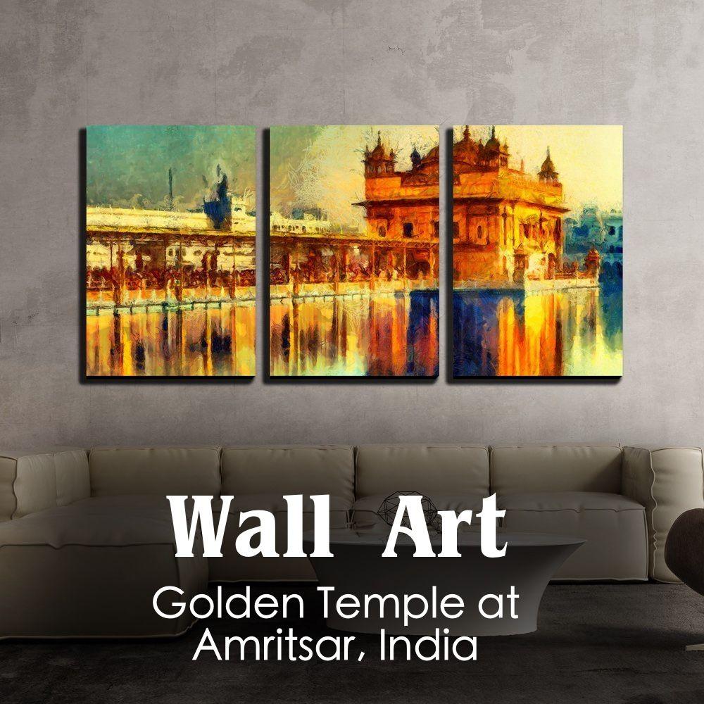 3 Piece Canvas Wall Art Golden Temple At Amritsar India Oil Painting Wallart Homedecor Indiandecor Goldentempl Canvas Wall Art Wall Art Golden Temple