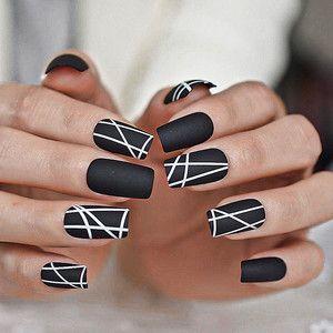 Photo of Black Geometric Press On Nails| Stiletto Nails | Square Nails | Acrylic Nails | Fake Nails | Nails