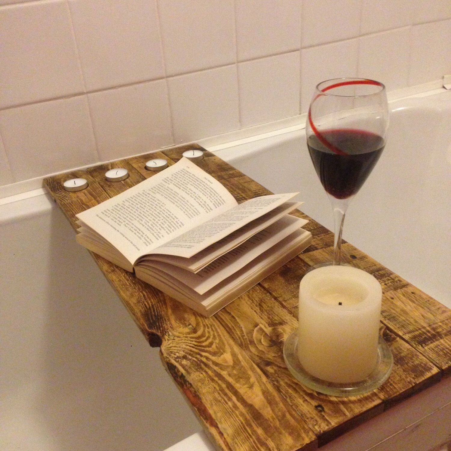 Reclaimed wood over bath shelf , bath tub tray for your books, wine ...