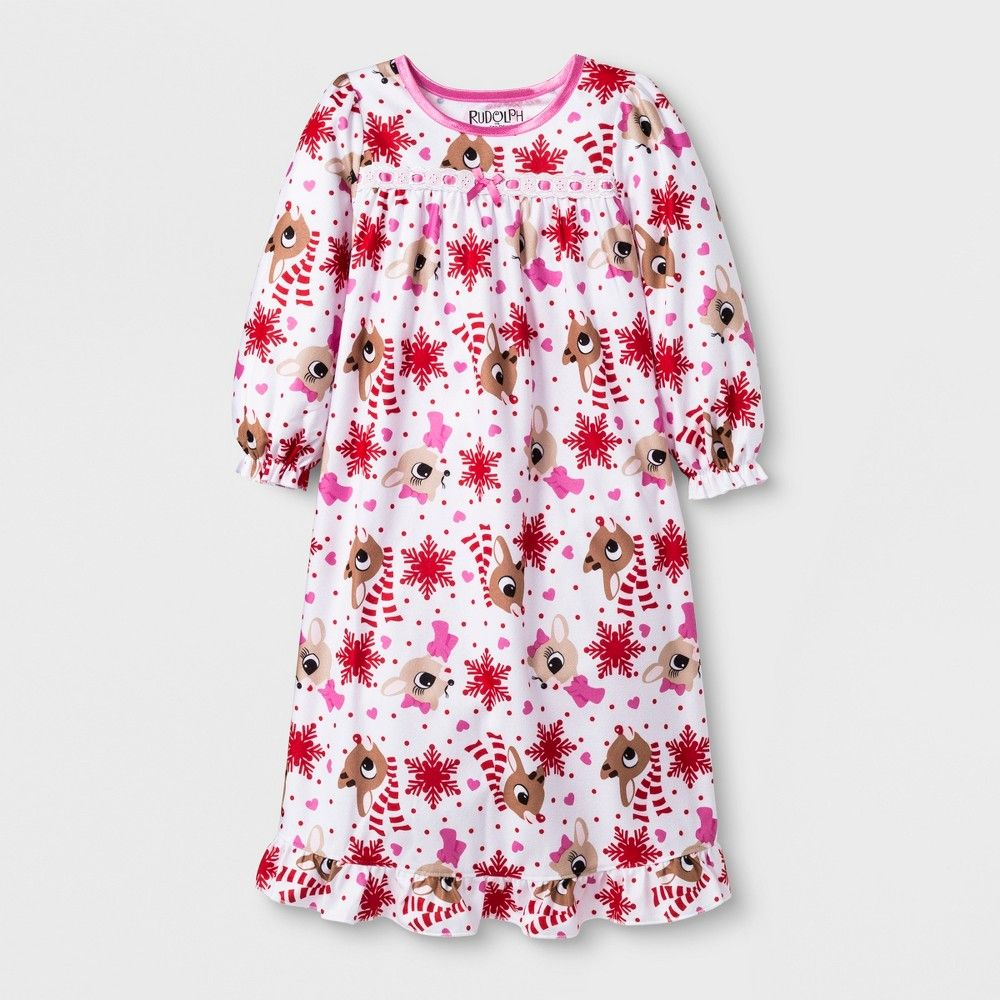 1fc137036 Give your little girls sleepwear collection a festive addition with this  cute and comfy Rudolph the Red-Nosed Reindeer Granny Gown.