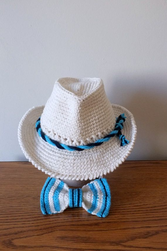 496134ac1e4 Crochet Baby Fedora Hat and Bow Tie Set Toddler by milazshop ...