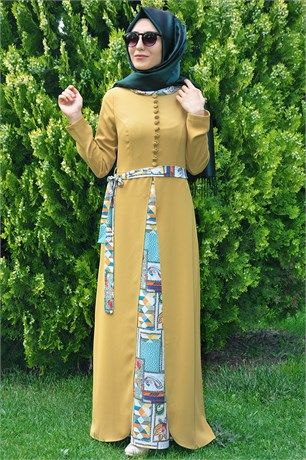 9ed7a8f6d5443 MarkaÂlâ 0532 Düğme Detay Elbise #moda #fashion #diy #tesettür #allday #