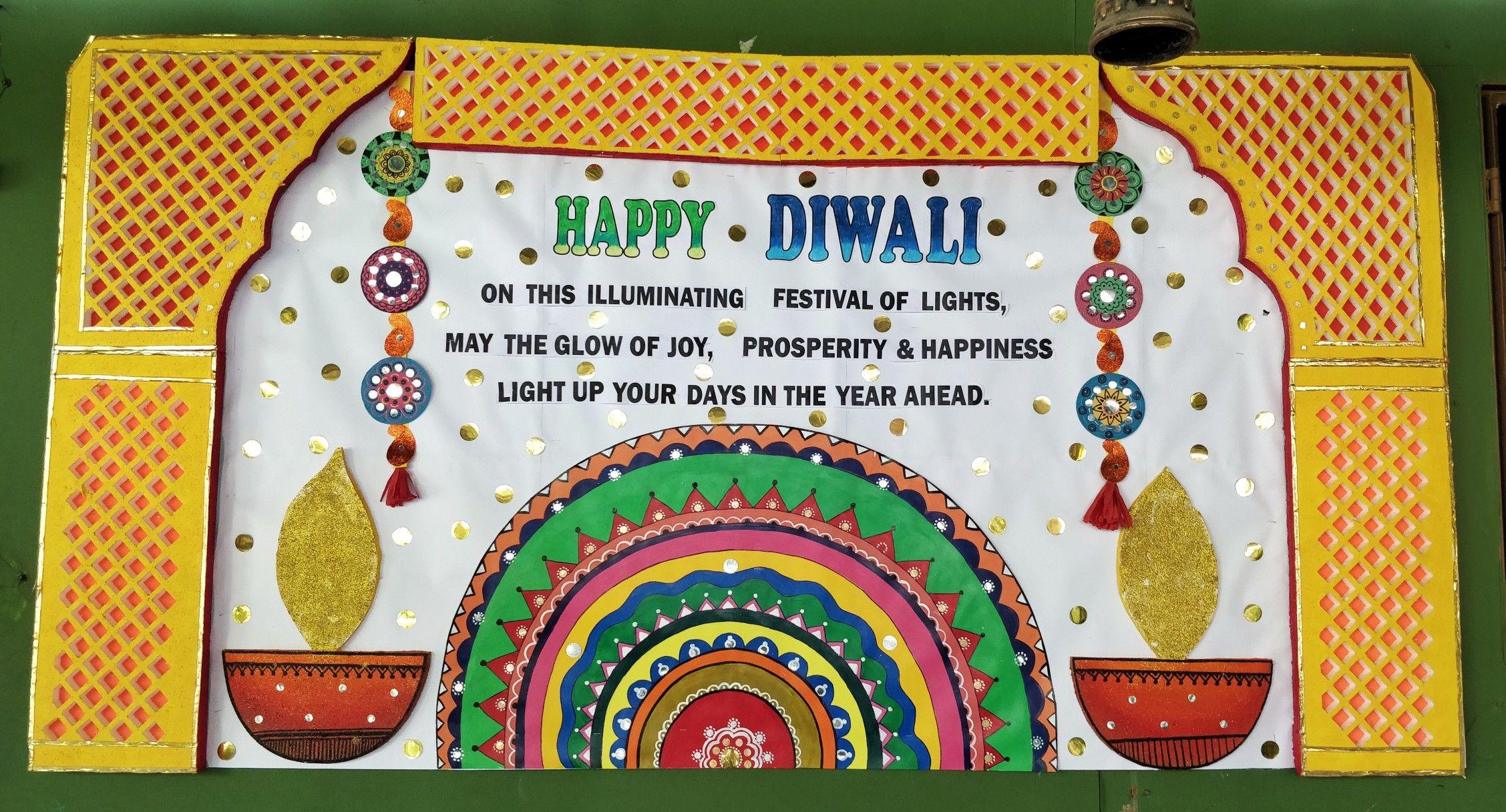 Diwali Bulletin Board Diwali Craft School Crafts Diwali Decorations [ 1217 x 2255 Pixel ]