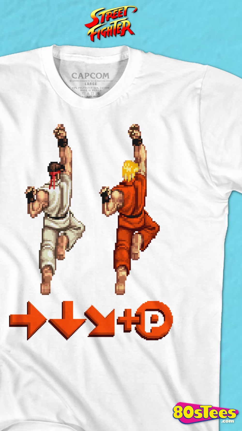 This Street Fighter T Shirt Shows Ryu And Ken Masters Performing The Shoryuken Special Attack The Shirt Includes The Forwa In 2020 Street Fighter Mens Tshirts T Shirt