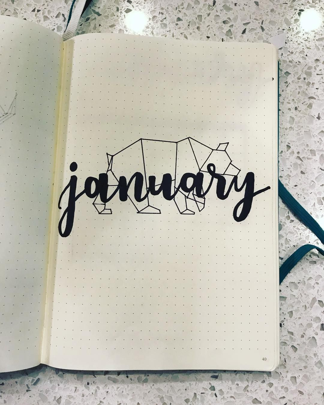 Bullet journal monthly cover page january cover page geometric