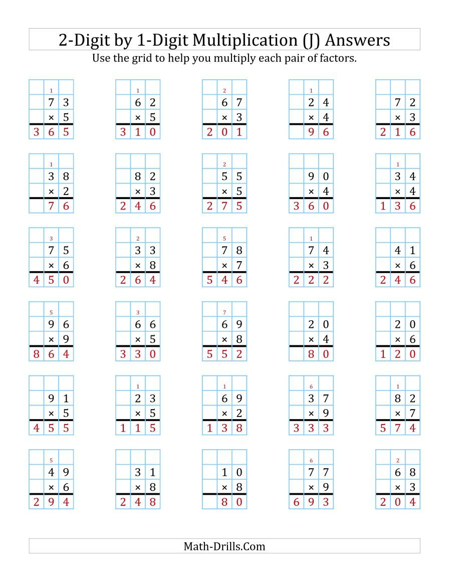 The 2 Digit By 1 Digit Multiplication With Grid Support J Math Worksheet Page 2 Multiplication Worksheets Math Worksheets Multiplication [ 1165 x 900 Pixel ]