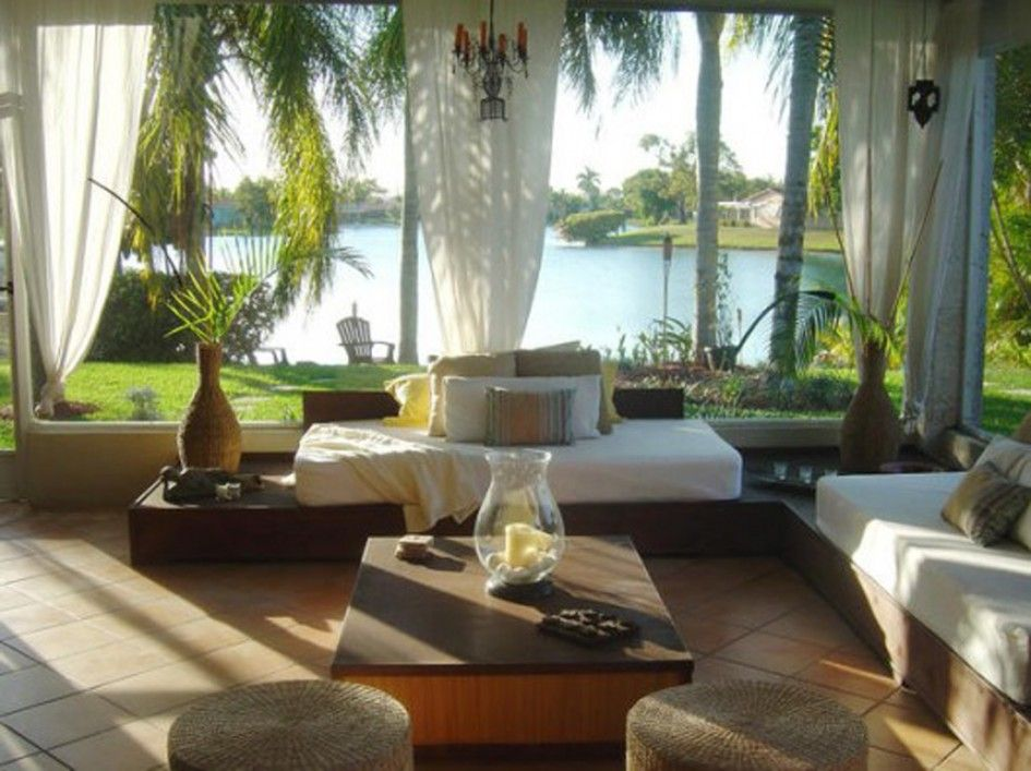 Lake Outdoor View Sunroom Design With L Shaped Sofa Arrangement And Rhombus  Pattern Stone Floor Also Beautiful Transparent White Curtains For Small  Interior ...