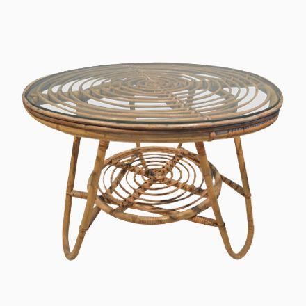 Vintage Rattan Piedestal Tisch Jetzt bestellen unter   moebel