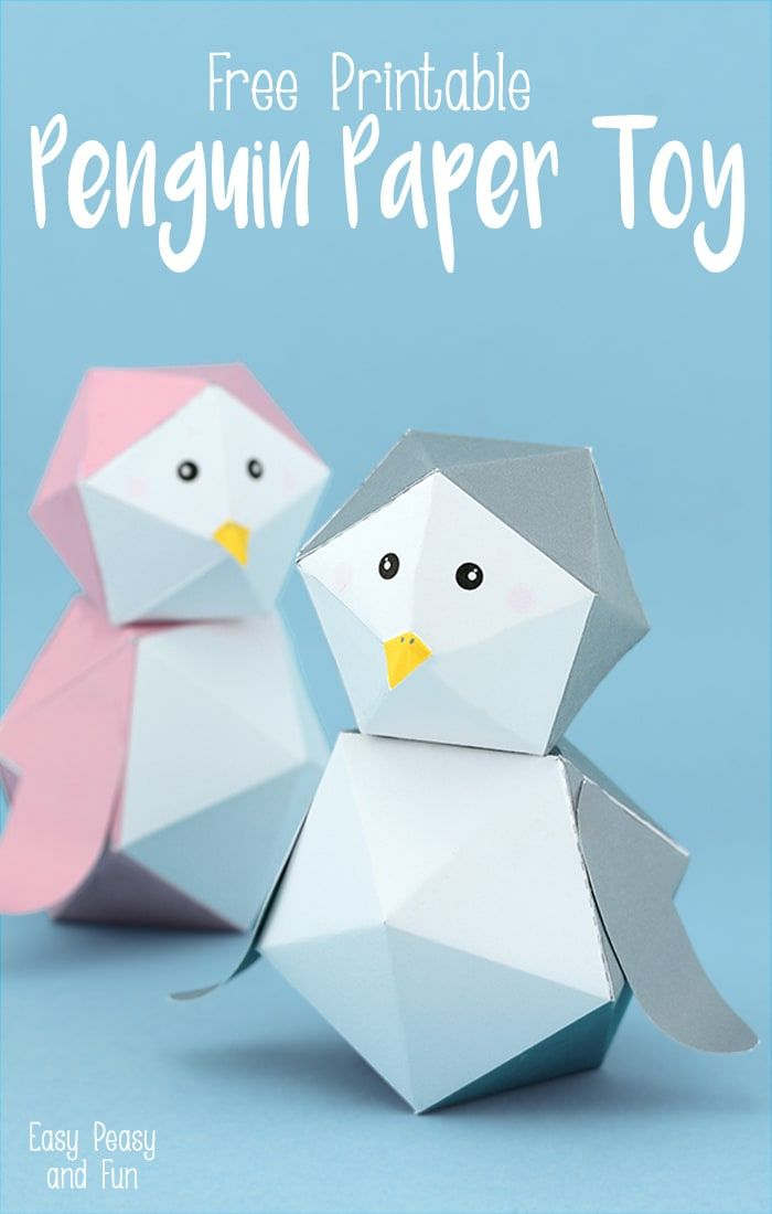 Exceptional Paper Craft Ideas For Kids Free Part - 13: 3D Free Printable Penguin Paper Toy