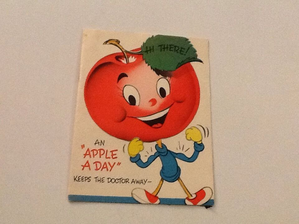 Vintage Greeting Card Get Well Anthropomorphic Apple Face