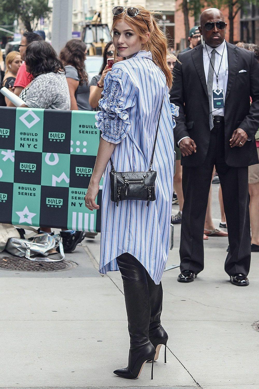 a69a8cade80 Katherine McNamara spotted leaving AOL BUILD Studios  blackhighheelsboots  Black Heels Outfit