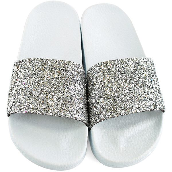 Frisbee Slides Silver Glitter   White Slide ( 20) ❤ liked on Polyvore  featuring shoes f4cdbfc37