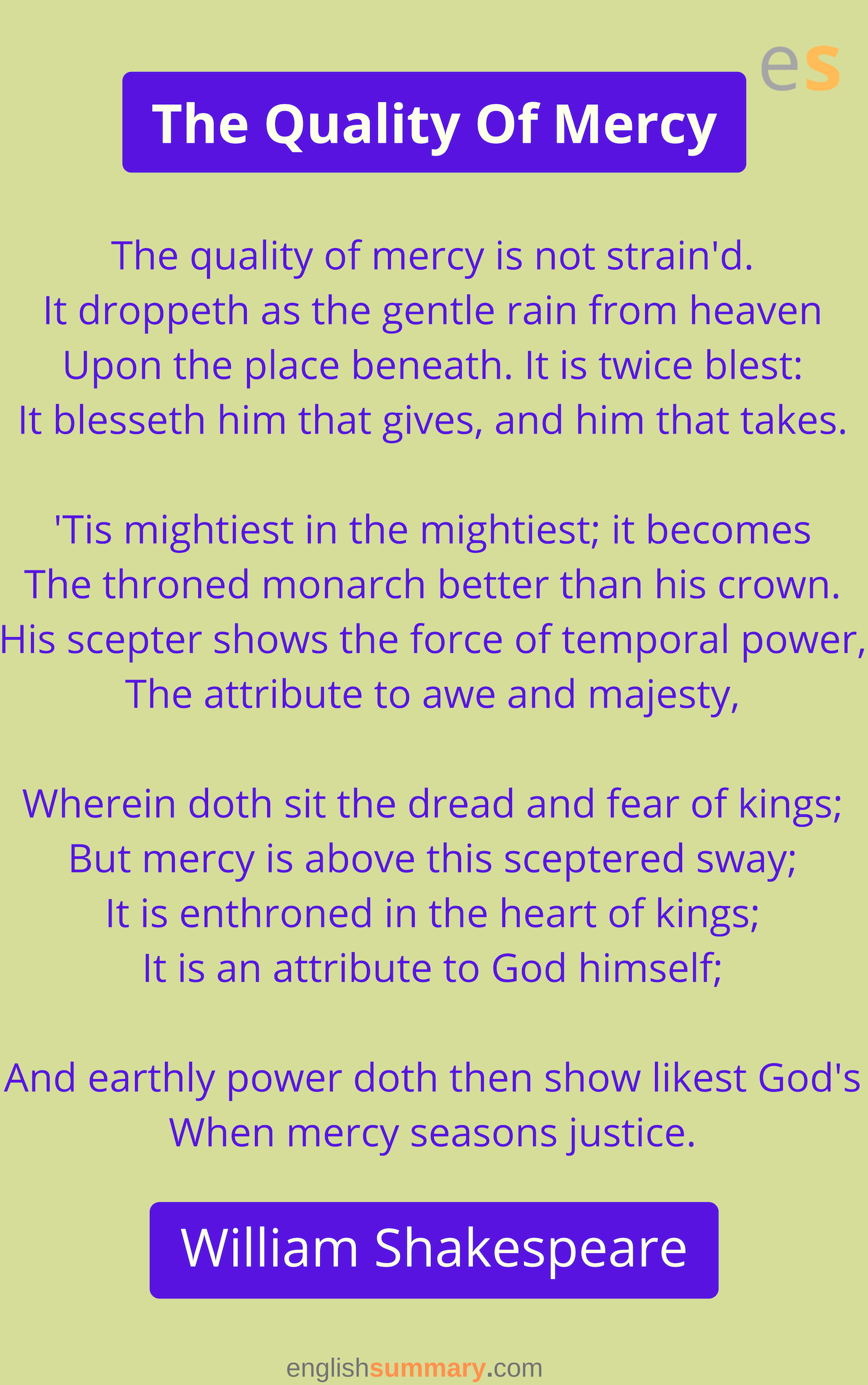 The Quality Of Mercy Poem By William Shakespeare How To Memorize Thing Poems A Beauty John Keat Theme