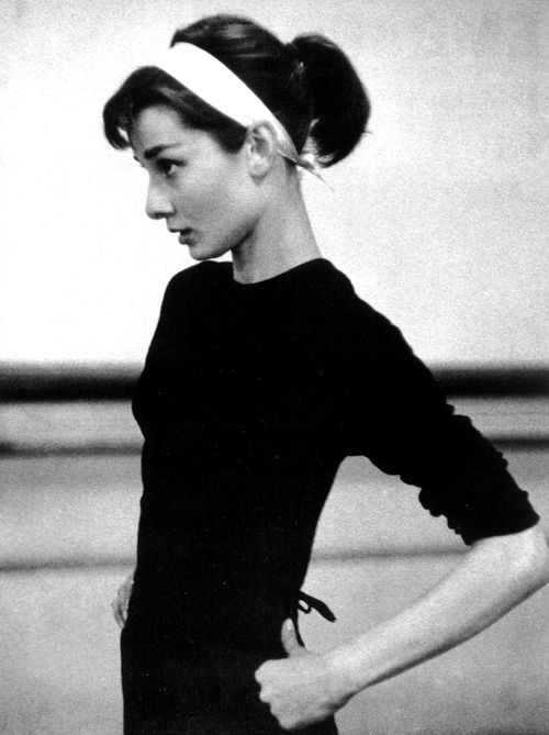 Audrey Hepburn rehearsing for Funny Face, photographed by Willy Rizzo, 1956.