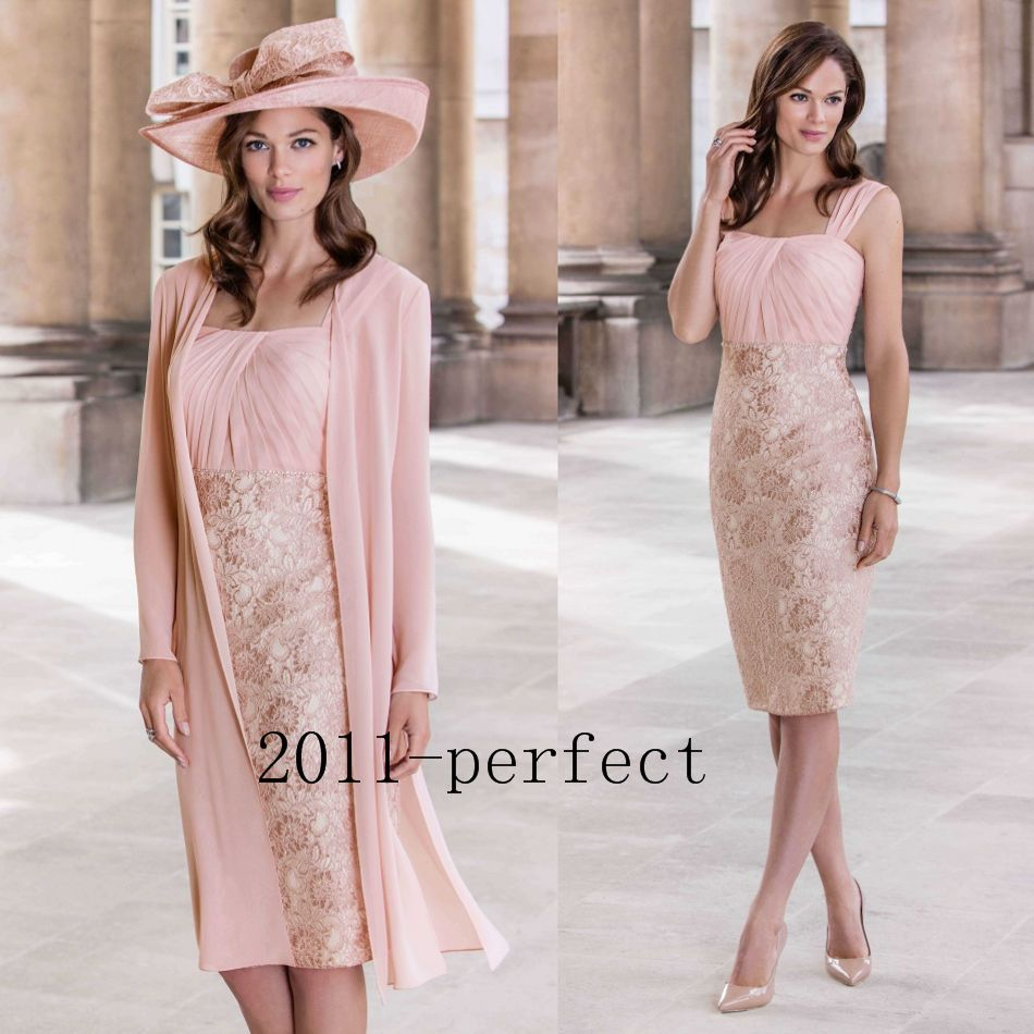 piece lace mother of the bride dress knee long evening party