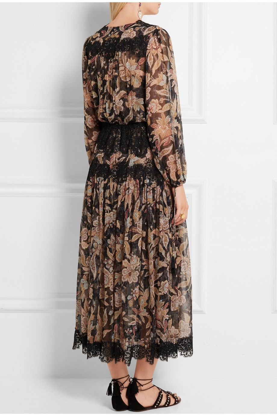 Lace paneled georgette dress