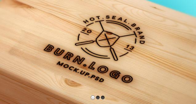 Free wood burnt logo PSD mockup. Wood logo, Logo psd