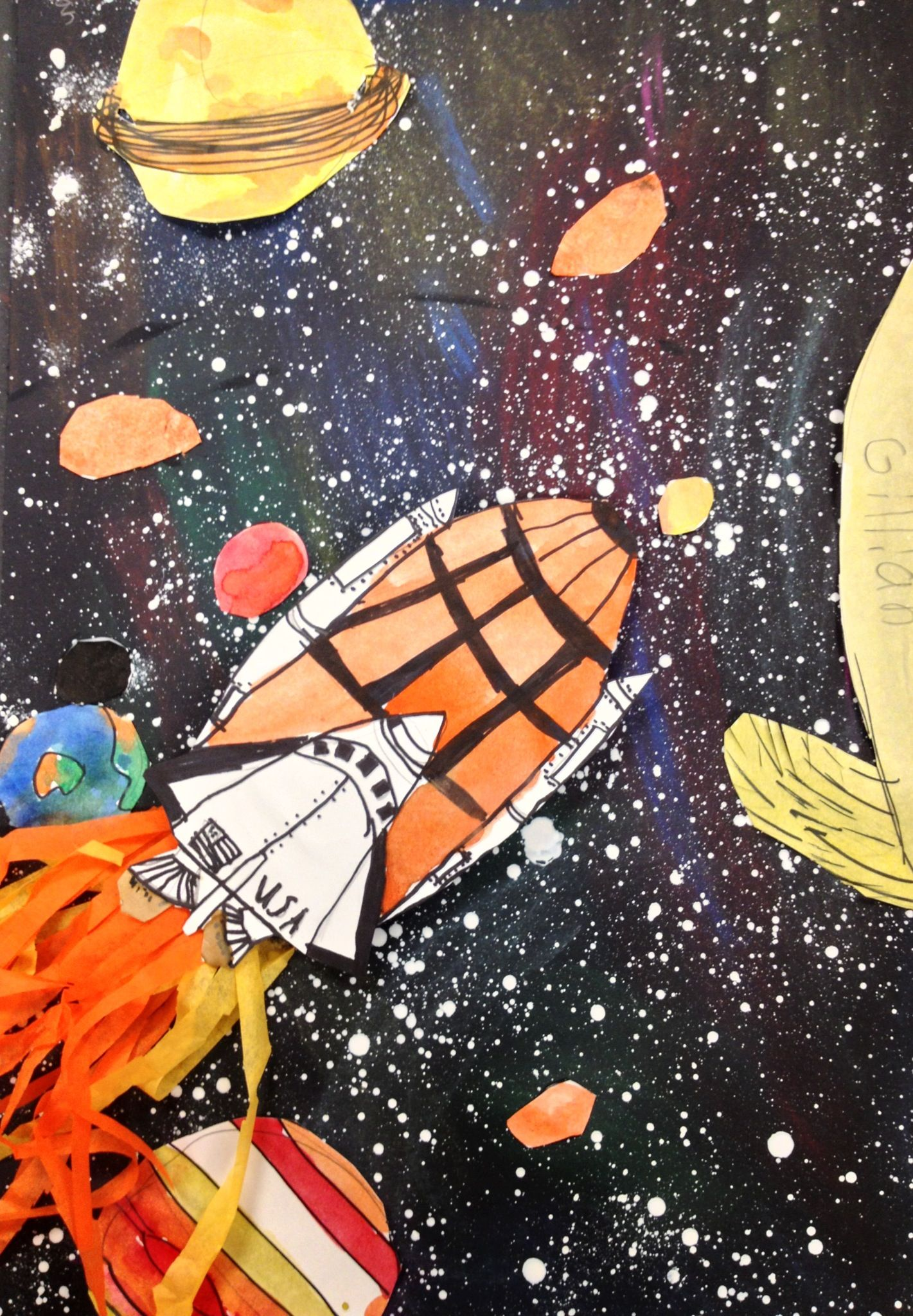 3rd Grade Space Collage 3rd Grade Art Lesson Space Art