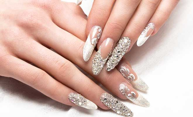 GLITTERED TIPS  || Wedding Nail Art    Use a nude peach, blush pink or taffeta white as your base. Take a glitter powder to set only on the nail tips. Seal with a top coat. You may also add in pearls or rhinestones for added impact.