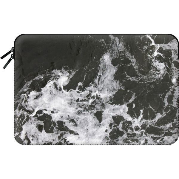 Macbook Sleeve - Black Water + Marble Macbook Case ($60) ❤ liked on Polyvore featuring accessories, tech accessories and macbook sleeve