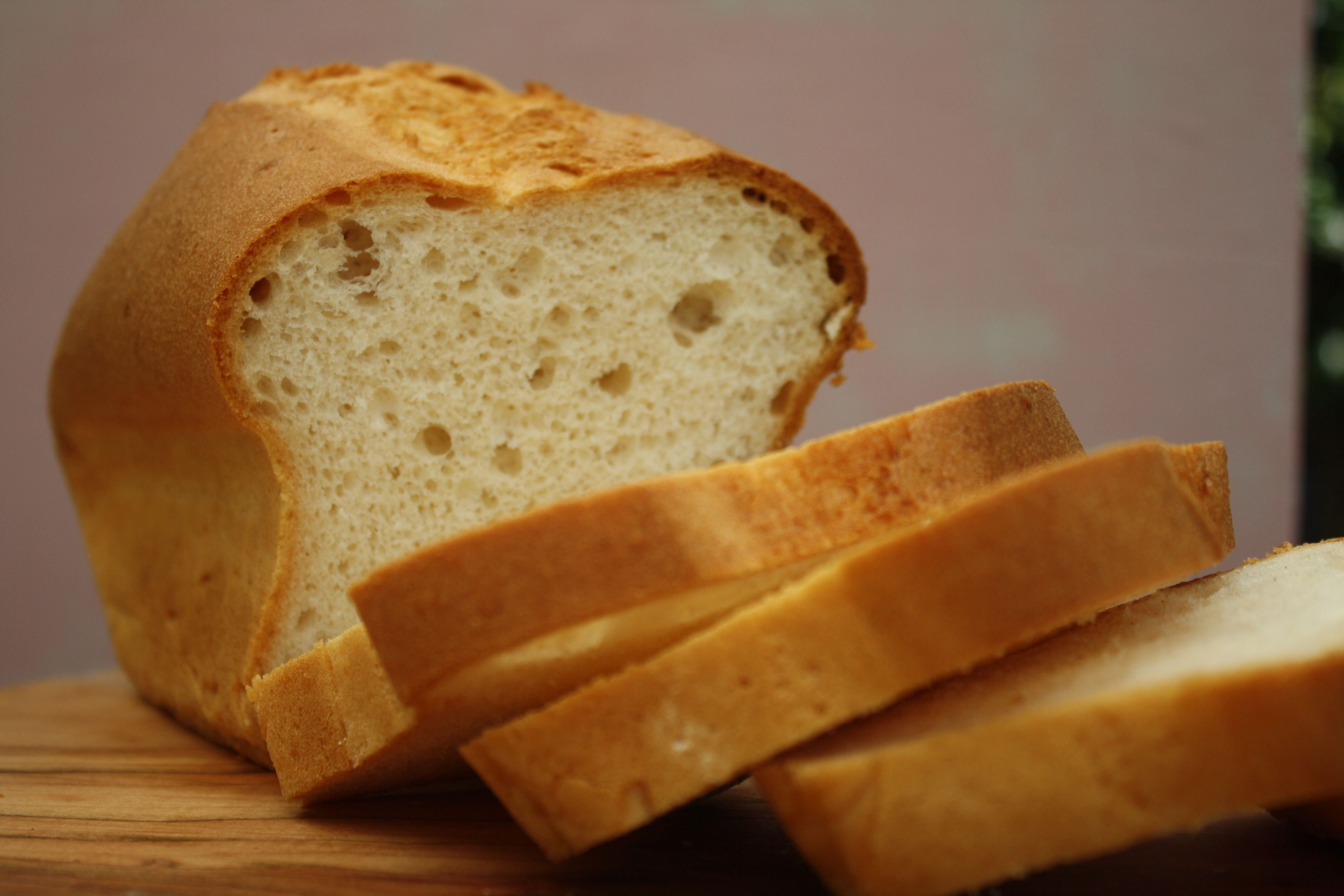 White bread from a mix that has no nasties, tastes like