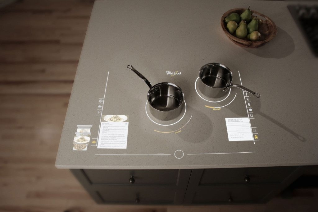Whirlpool's Interactive Cooktop has a voice-automated information hub can offer details about a dish's ingredients, etc.