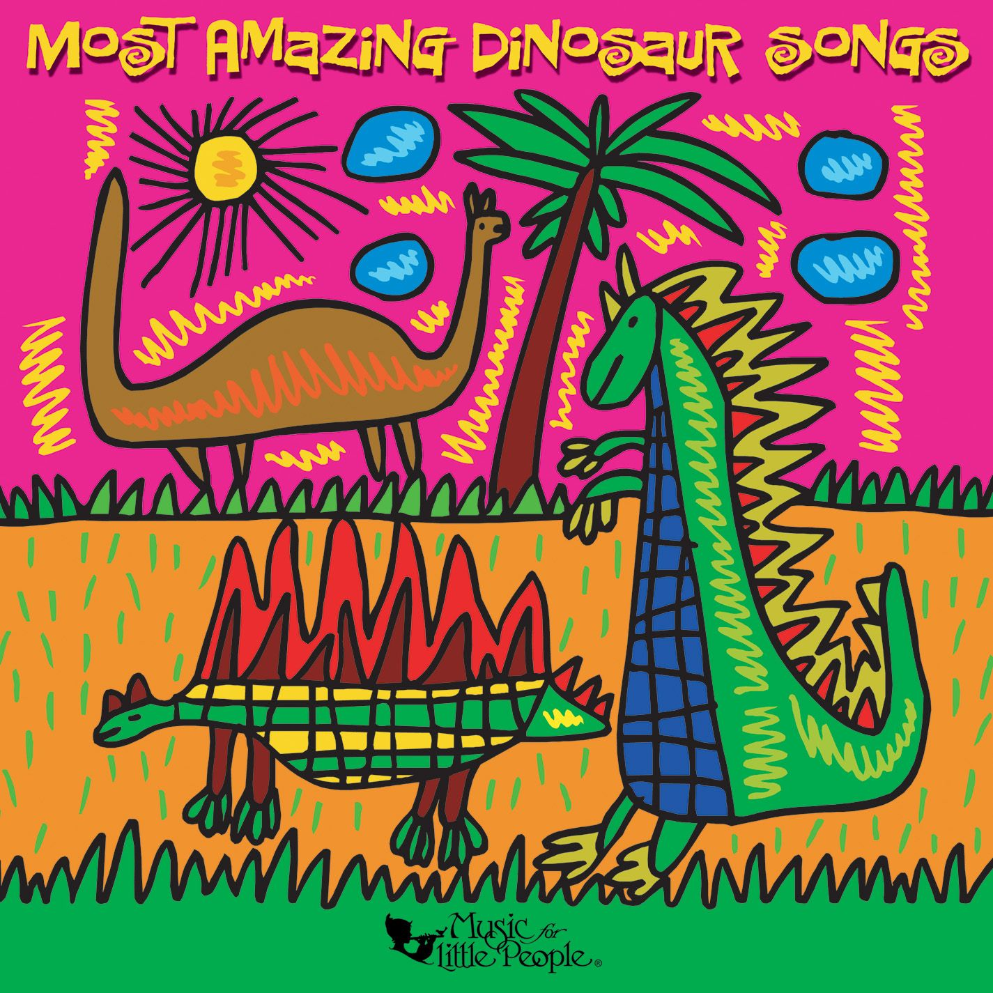 Are your kids too young for #JurassicWorld but caught up in the excitement? MOST AMAZING DINOSAUR SONGS (Music For Little People) is the perfect CD!  Silly songs, scary songs and familiar childhood sing-alongs make up this delightful celebration of songs all about dinosaurs, ideal for ages 4-7. 14 songs plus dinosaur related dialogue and trivia. Parents' Choice Recommended  http://amzn.com/B00025ETTG