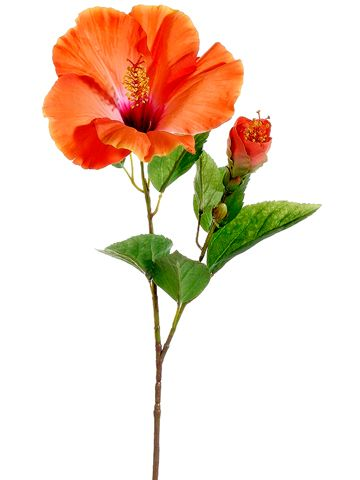 Orange Coral Hibiscus Spray Destination Wedding Afloral Com Tropical Artificial Flowers Hibiscus Flowers Flower Spray