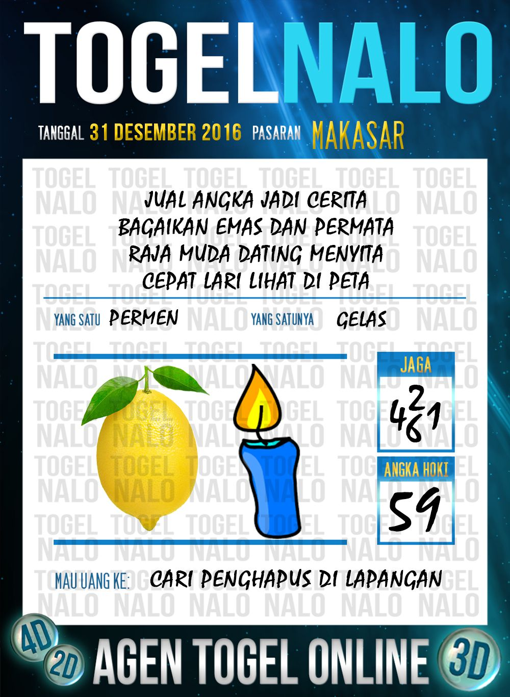 Bolak Balik 2D Togel Wap Online Live Draw 4D TogelNalo Makassar 31