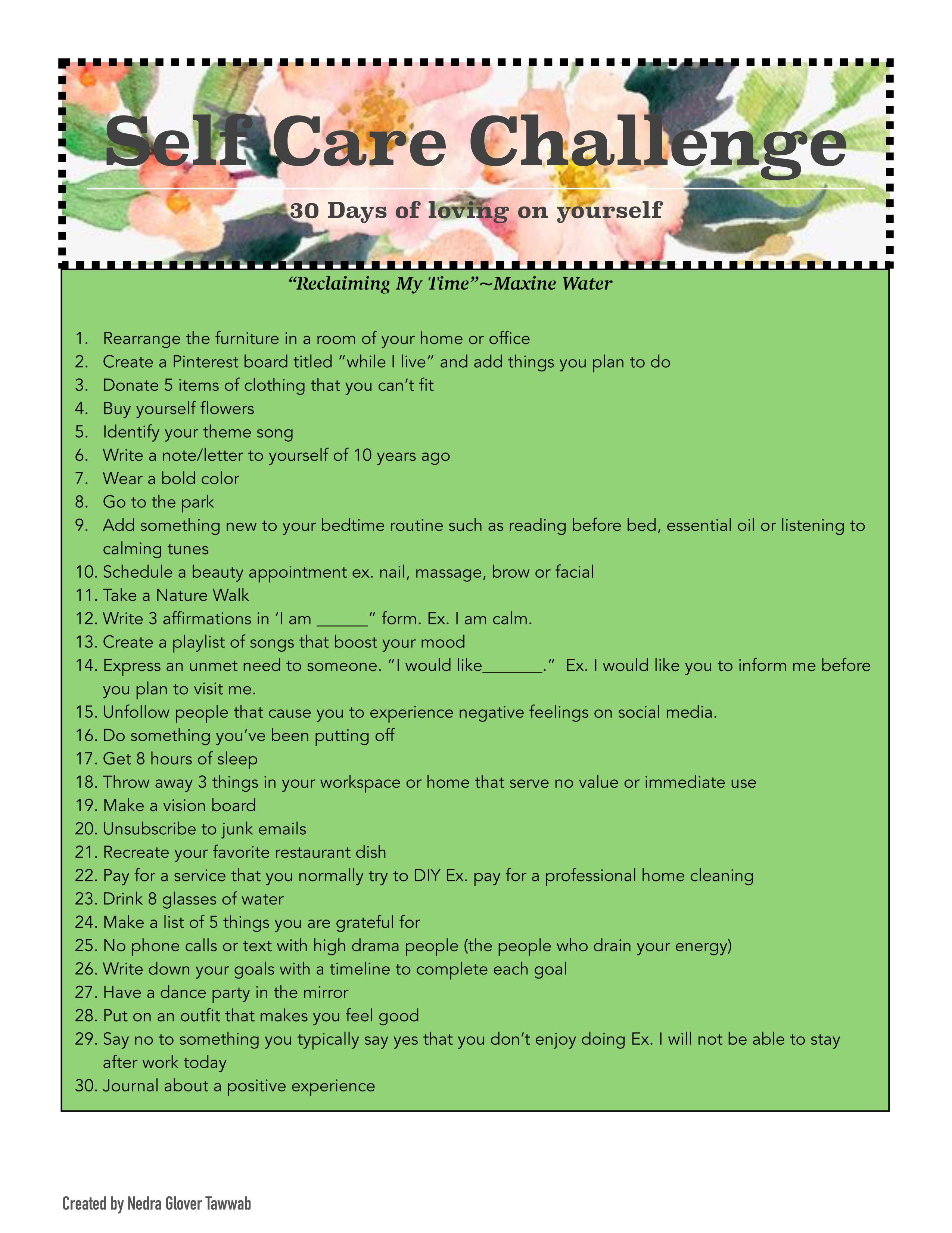30 Day Self Care Challenge