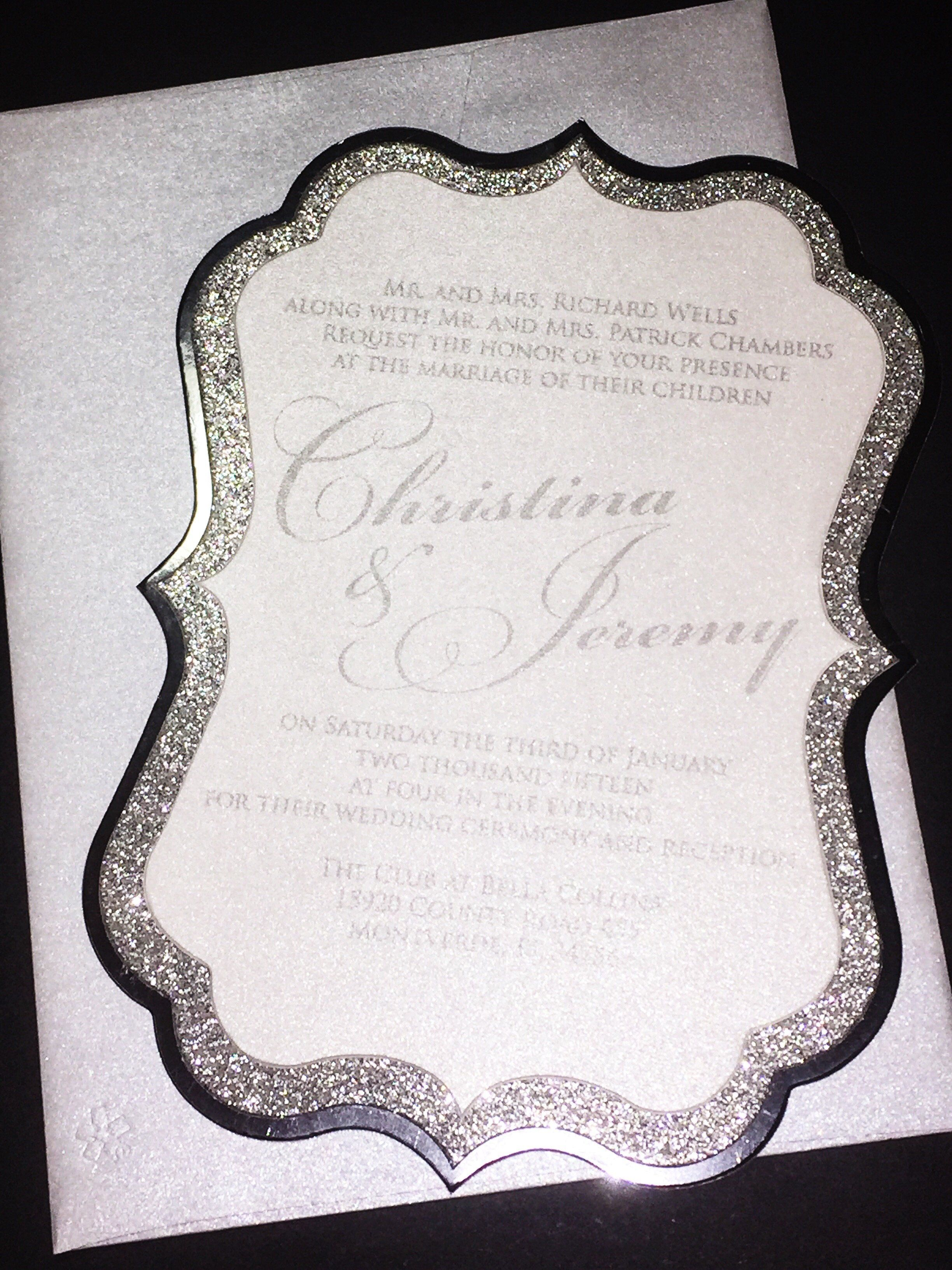 Silver Glitter and Foil Wedding Invitation - CHRISTINA VERSION ...