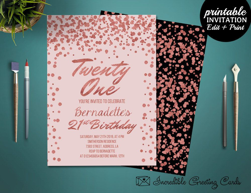 Printable Rose Gold 21st Birthday Girl Invitation Template Birthday Party Invitat 21st Birthday Invitations Party Invite Template Glitter Invitations Birthday