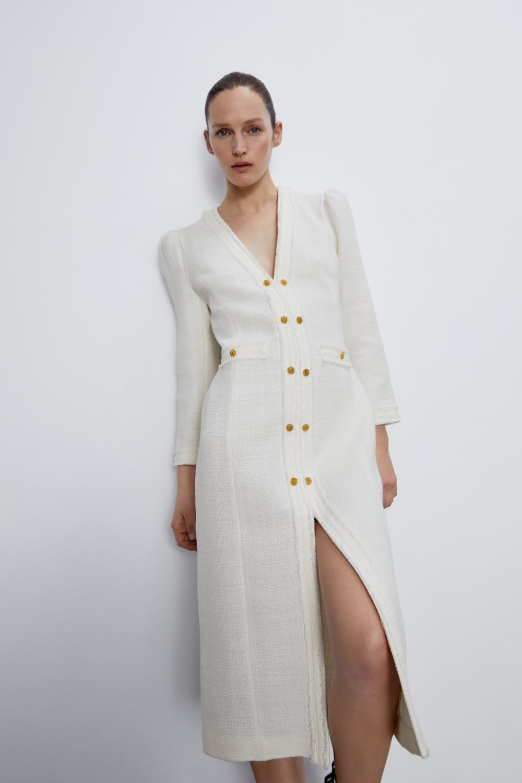 tweed midi dress | zara slovenia | jurken