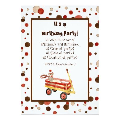 Sock Monkey, Boy Birthday Party Invitation