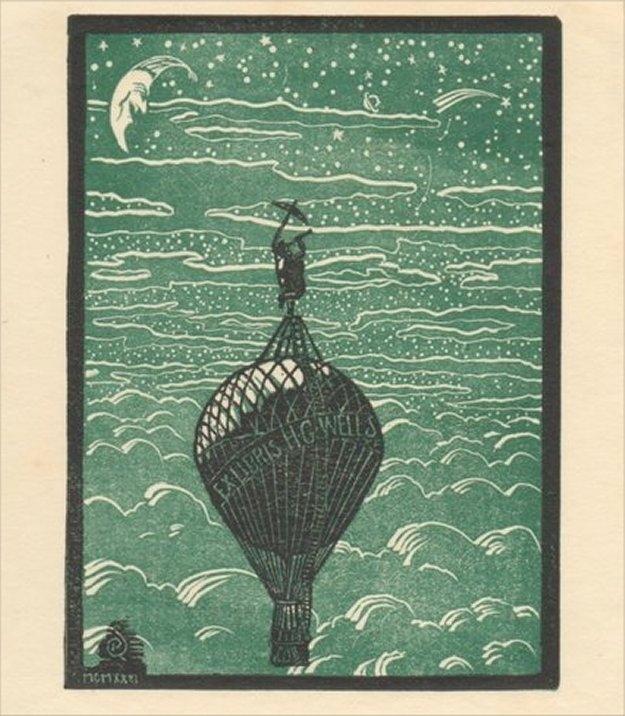 """愛書家日誌 on Twitter: """"H.G.ウェルズの蔵書票です。デザインはロバート・サルド。少なくとも2種類のデザインがあることが知られており、どちらが長く使われたのかは不明です。 #あの人の蔵書票 http://t.co/v7Jr4A8A19"""""""