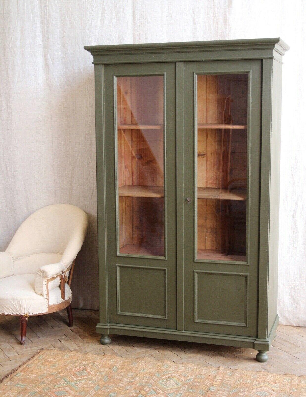 Vintage Antique Green Painted Larder Linen Press G
