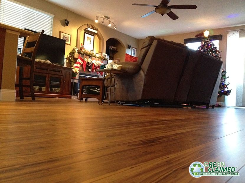 Project pics #12 - 15. From crappy carpet to Beautiful Solid Hardwood!!  Mocha Fossilized® Eucalyptus Flooring from CaliBamboo in our home