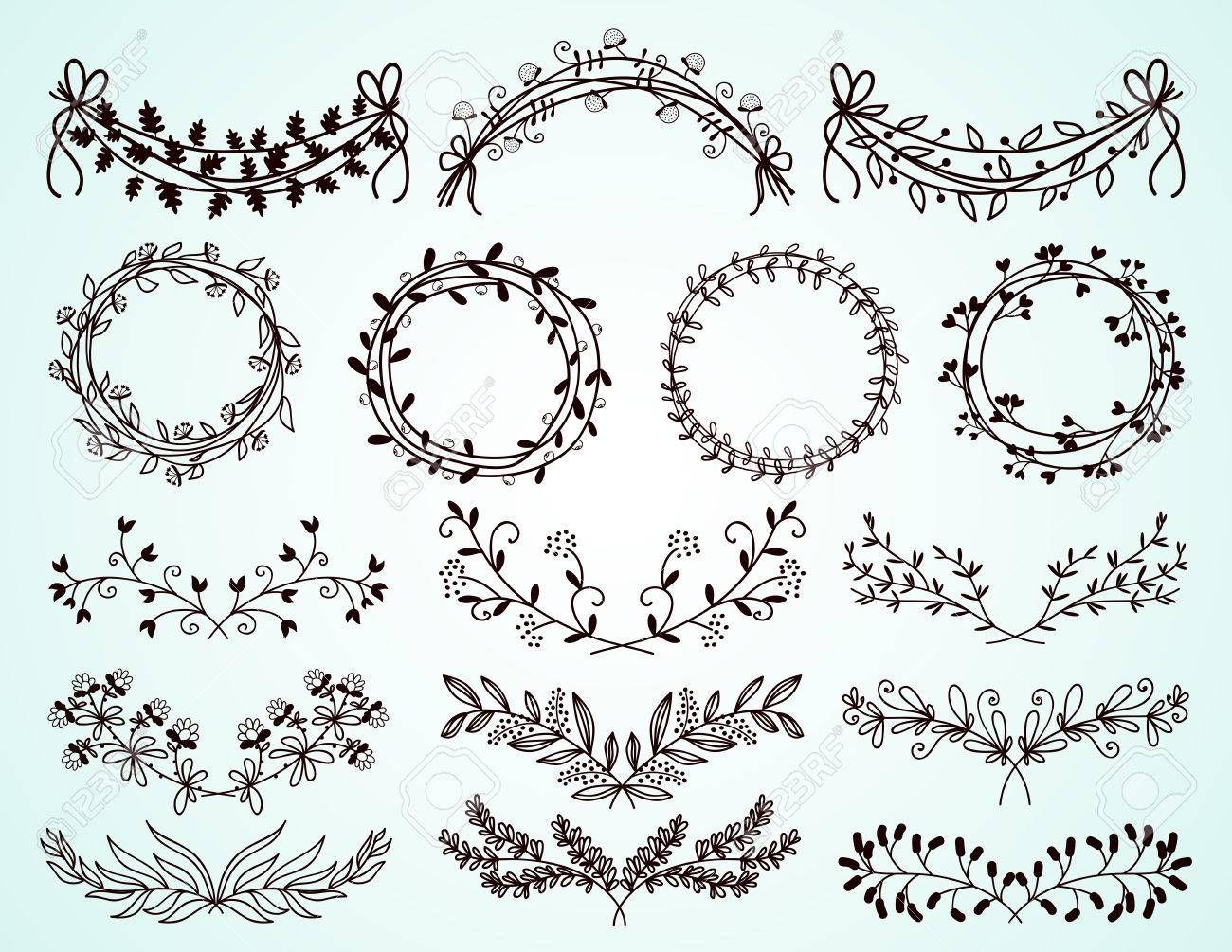 d finir des fronti res et des couronnes de fleurs dessin es la main broderie drawings. Black Bedroom Furniture Sets. Home Design Ideas