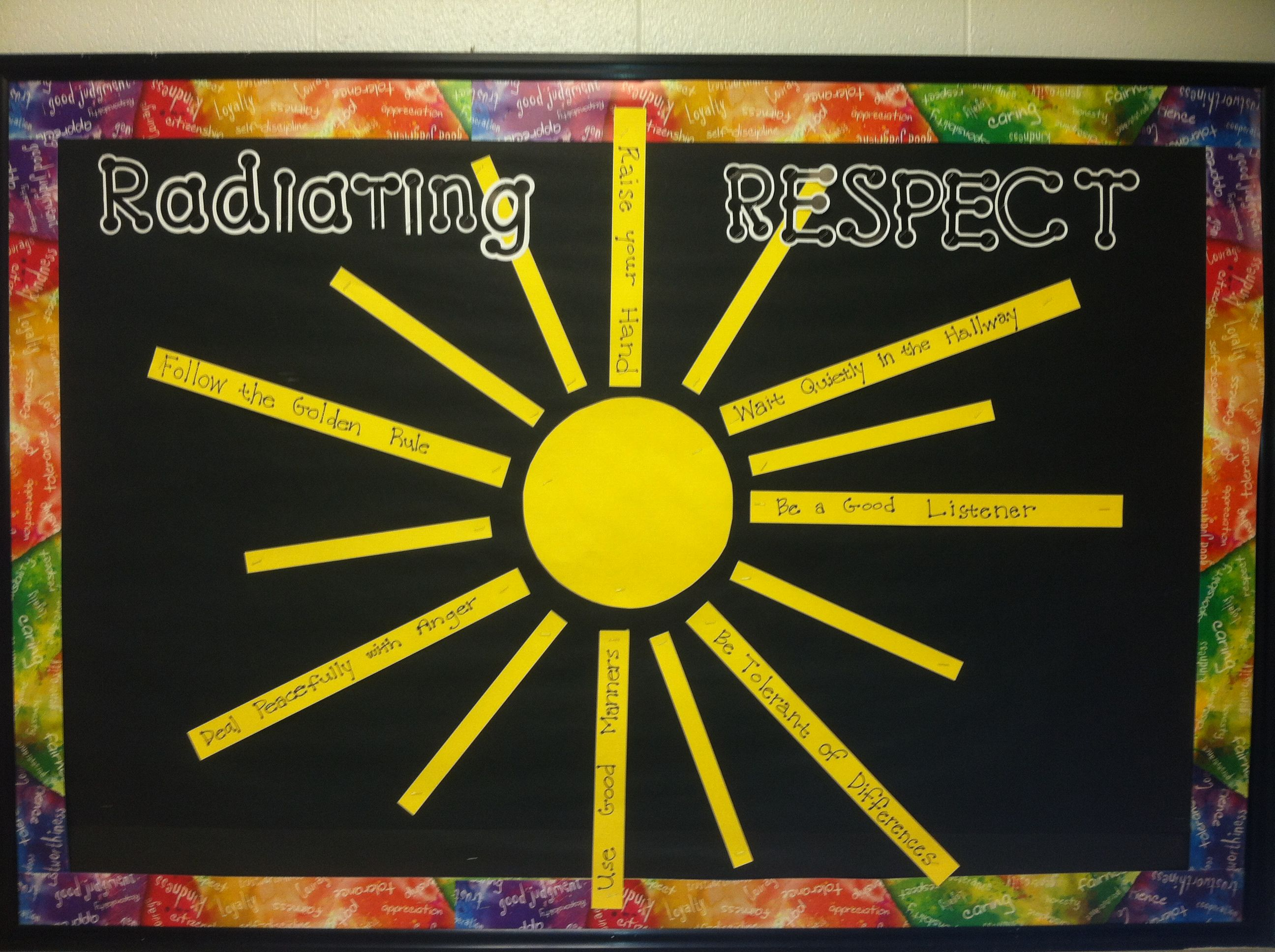 Radiating Respect Character Education Bulletin Board