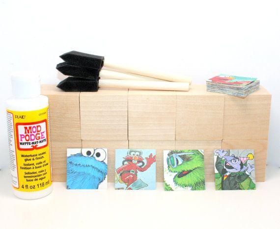Sesame Street Birthday Decor  DIY Block Kit  Baby by Booksonblocks