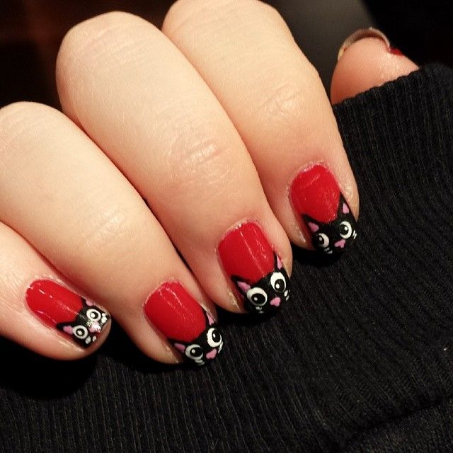 red kitty cat nails by @nailcrazedgirl | Cult Nail Art by our ...