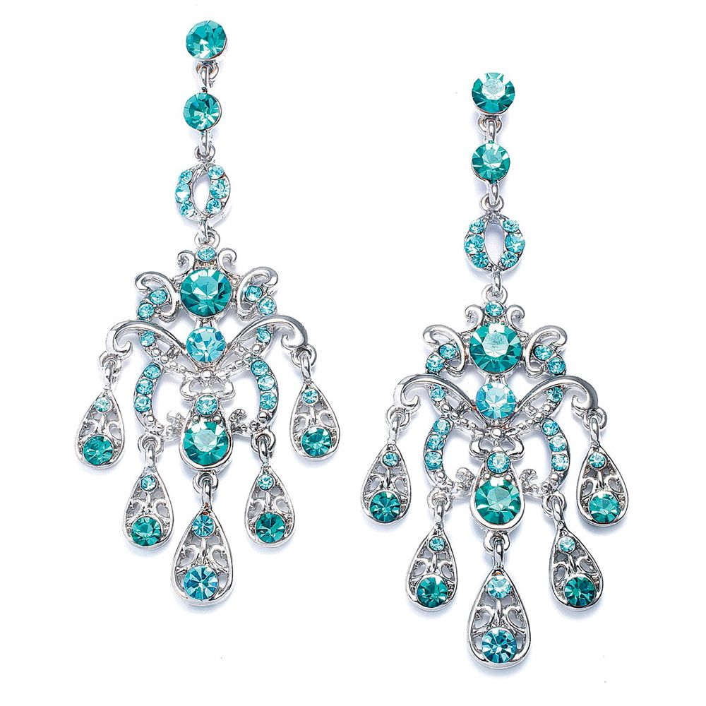 Linear chandelier earrings with teal teardrops winter wonderland linear chandelier earrings with teal teardrops mozeypictures Image collections